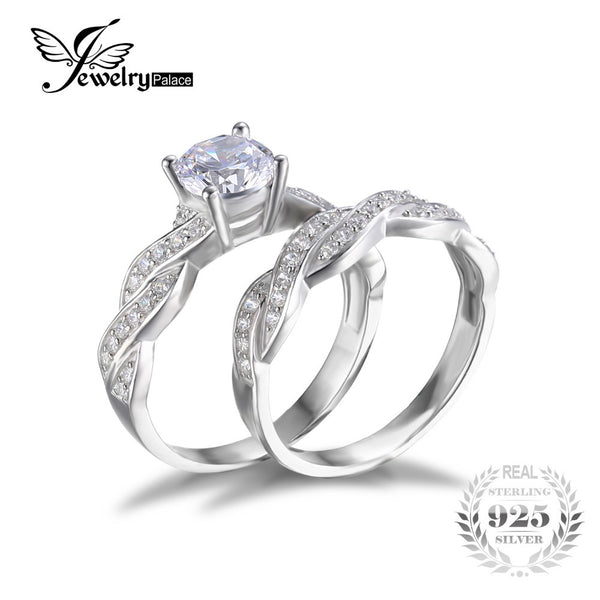 Simulated Diamond Engagement Ring Set 925 Sterling Silver