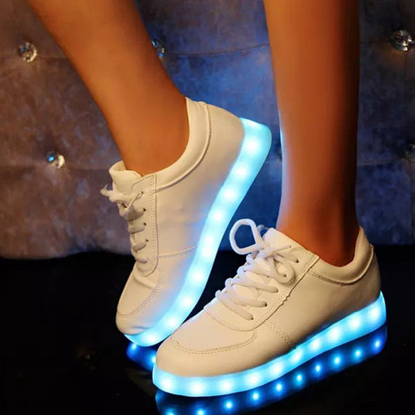 White Light Up Trainers with Flashing Soles