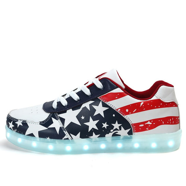 Mens Light Up Trainers with Flashing Soles - American Flag