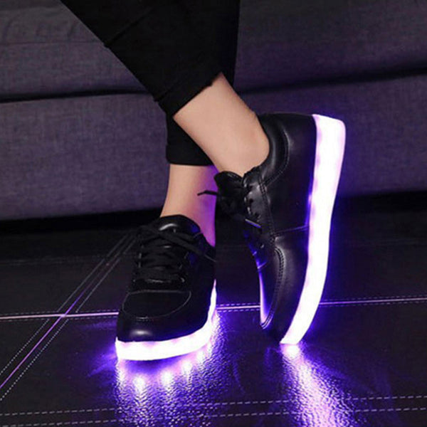Mens Light Up Trainers with Flashing Soles - Black