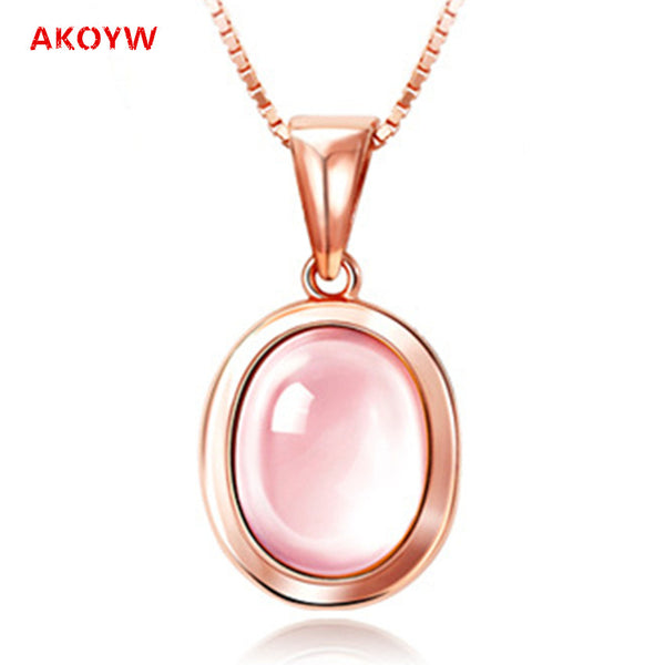 Rose Quartz Gold Tone Womans Necklace
