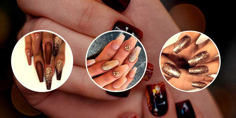 Taupe Bronze Gold Ombre Coffin Nails