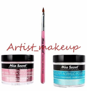 Mia Secret Acrylic Nail Powder Clear + Multibalance 2 oz + Kolinsky Brush# 4OR