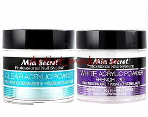 Mia Secret Acrylic Nail Powder Clear + White Professional Nail System Size:1 oz