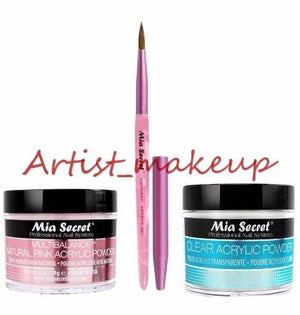 Mia Secret Acrylic Nail Powder Clear + Multibalance 2 oz + Kolinsky Brush # 3D