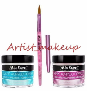 Mia Secret Acrylic Nail Powder Pink + Clear 2 oz + Kolinsky Brush# 8