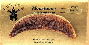 HUMAN HAIR COSTUME CHARACTER MOUSTACHE 2015 w/ SIX TOPSTICK ADHESIVE STRIPS