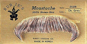 HUMAN HAIR WINCHESTER COSTUME MOUSTACHE 2028 w/ SIX TOPSTICK ADHESIVE STRIPS