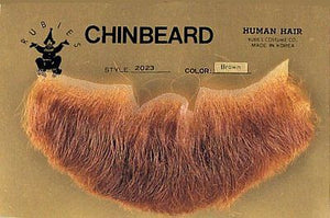 HUMAN HAIR COSTUME BEARD 3-POINT CHINBEARD 2023 w/ SIX TOPSTICK ADHESIVE STRIPS