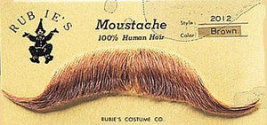 HUMAN HAIR COSTUME EUROPEAN MOUSTACHE 2012 w/ SIX TOPSTICK ADHESIVE STRIPS