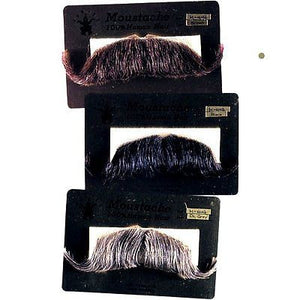 HUMAN HAIR HANDLEBAR COLONEL MAJOR MOUSTACHE + SIX TOPSTICK ADHESIVE STRIPS 2014