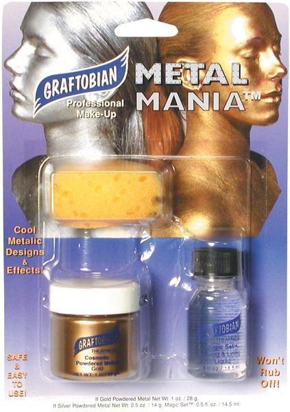 GRAFTOBIAN METAL MANIA FACE BODY PAINTING POWDERED METAL STAGE HALLOWEEN - GOLD