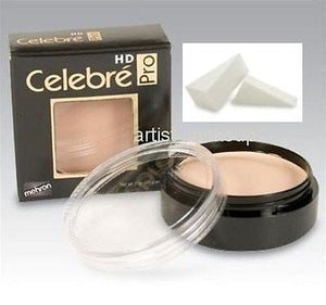Celebre HD Pro Mehron Quality Foundation Cream w/Latex Foam Applicator Dark 3