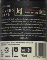 2015 J&J Wines Rivers Lane Organic Shiraz