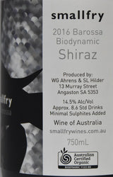 2016 Smallfry Organic Biodynamic Shiraz