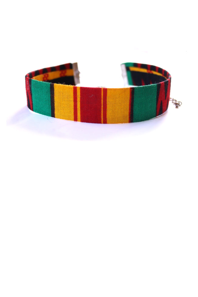 Kente red yellow green choker necklace