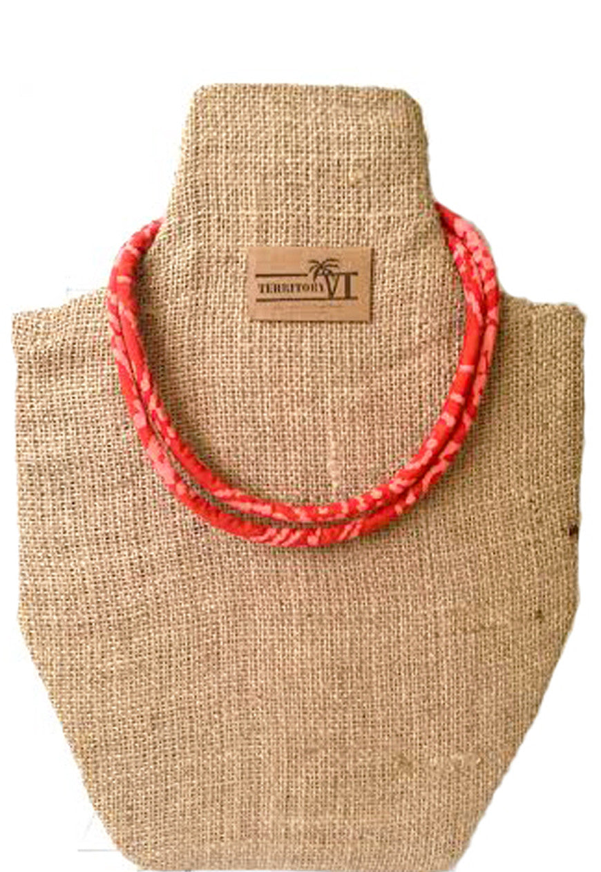 BATIK WAX PRINT NECKLACE (CORAL)