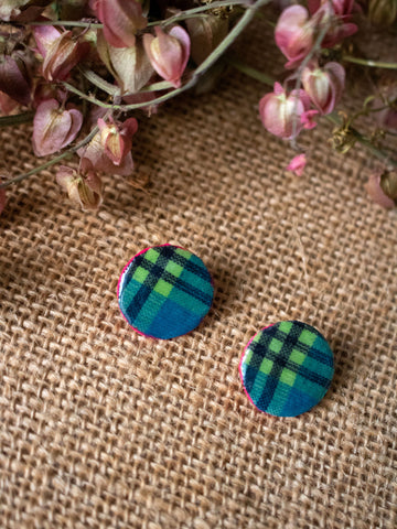 MADRAS STUD POST EARRINGS (Sea blue-Multi)
