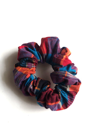 Thee Madras Scrunchie (Blue/Coral-Multi)