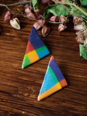 MADRAS TRIANGLE STUD POST EARRING (Lime-Multi)