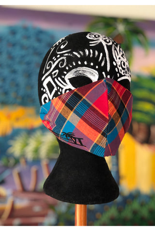 Madras Customizable Mask (Blue-Coral/Multi)