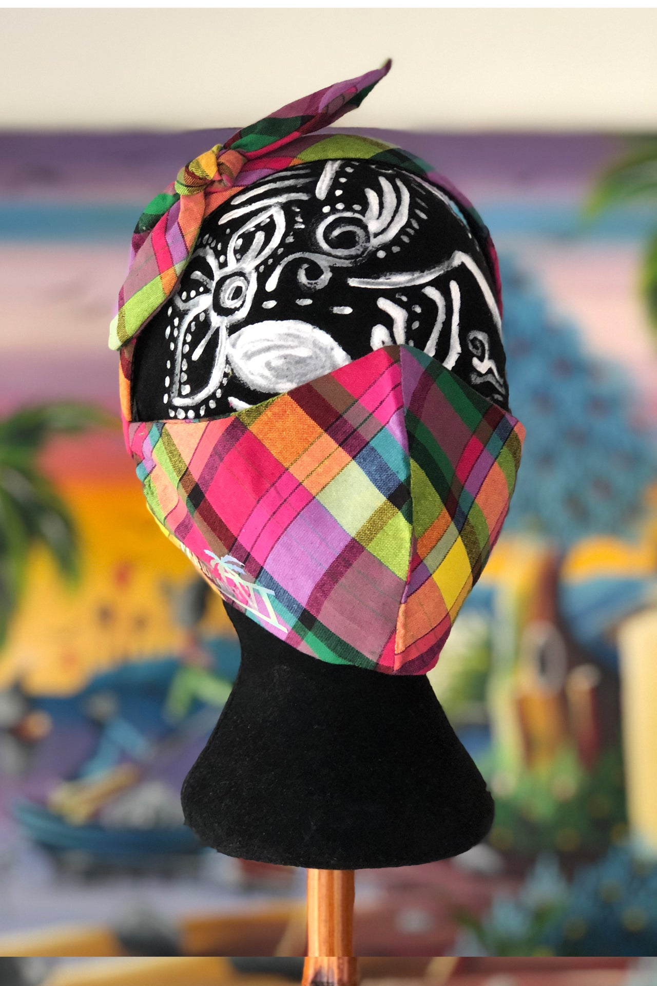 Madras Customizable Mask (Pink/Multi)