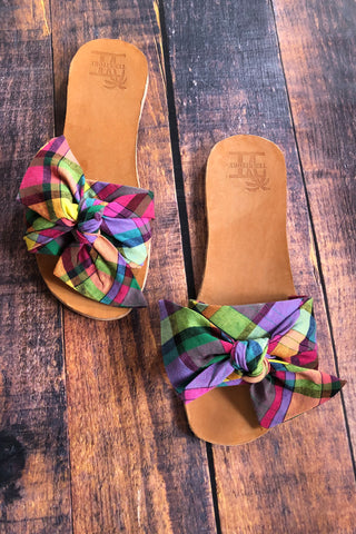 Queen Madras Bow-tie Slide Sandals