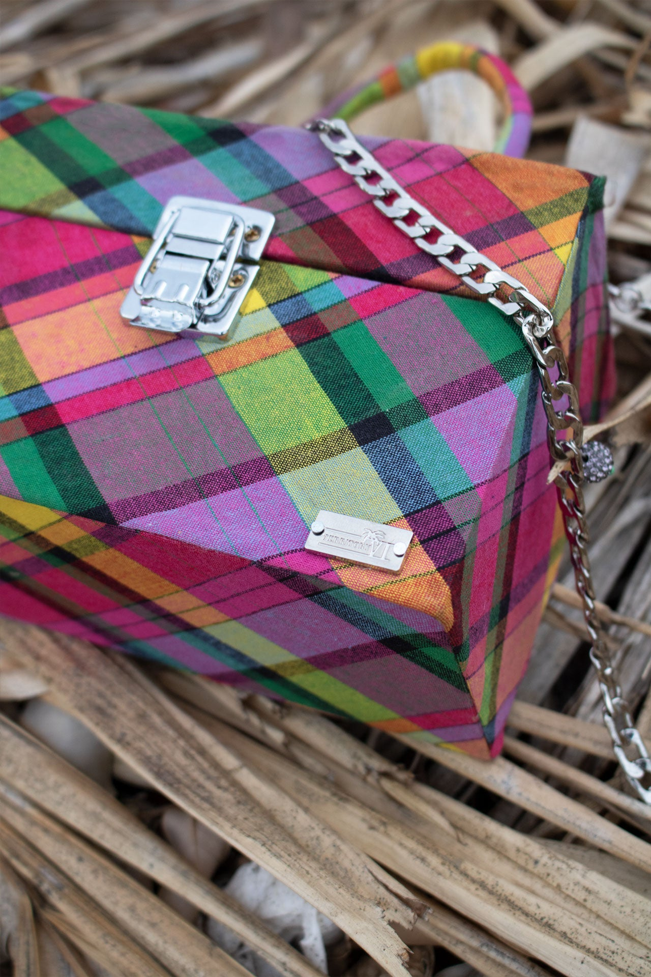 Caribbean Vibes Madras Box Bag (Pink-Multi)