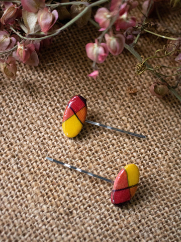 Madras Oval Hair Pin Set (Pink-Multi)