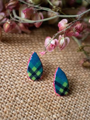MADRAS DROP STUD POST EARRING (Sea Blue-Multi)