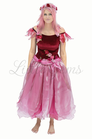 Adult Apple Blossom Fairy Dress Burgundy