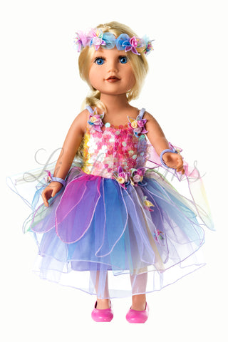 Dolls Rainbow Fairy Set with Wings and Garland