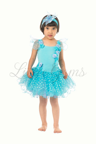 Toddler Butterfly Dress in Aqua