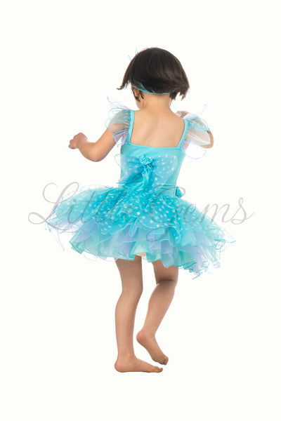 Butterfly Tiny Fairy  Dress in Aqua