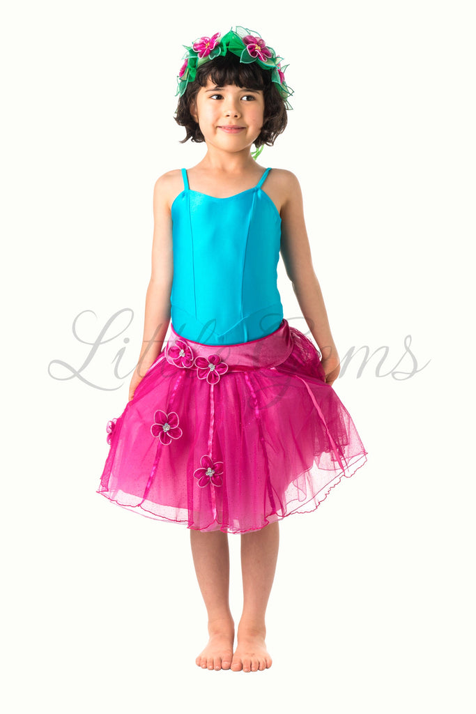 Skirt Flower & Ribbons Glitter in Hotpink