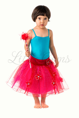 Skirt Flower & Ribbons Glitter in Red