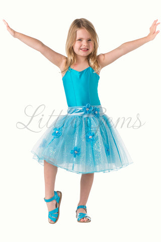 Skirt Flower & Ribbons Glitter in light blue