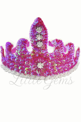 Sequinned Tiara Fuchsia