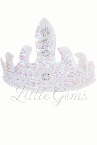 Sequinned Tiara White