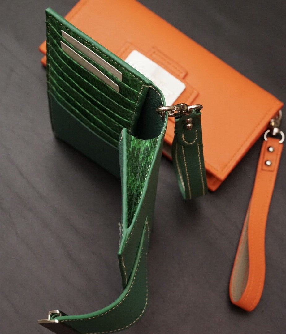 Pyton accented green McKenna Wallet with 8 card slots
