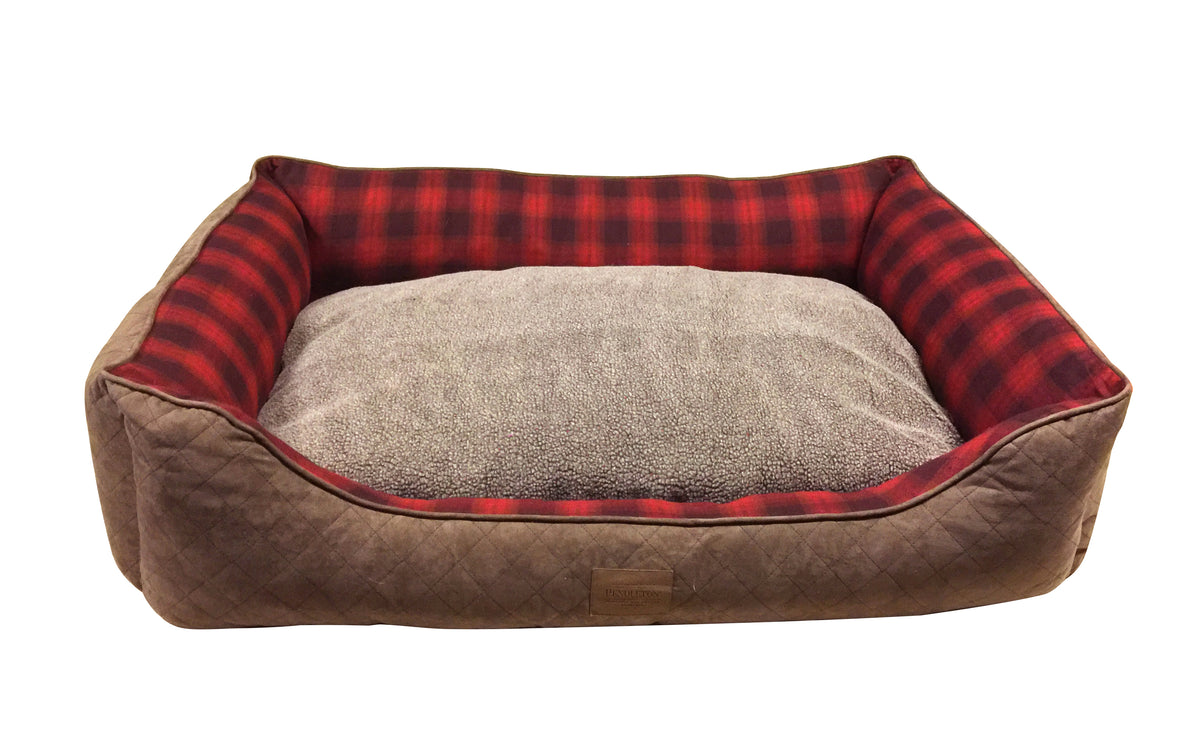 Red Plaid Ombre Kuddler Dog Bed