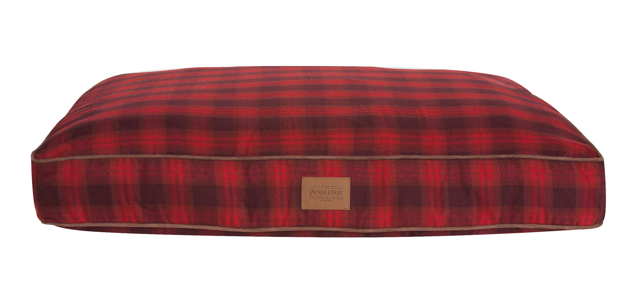 Red Ombre Plaid Dog Bed