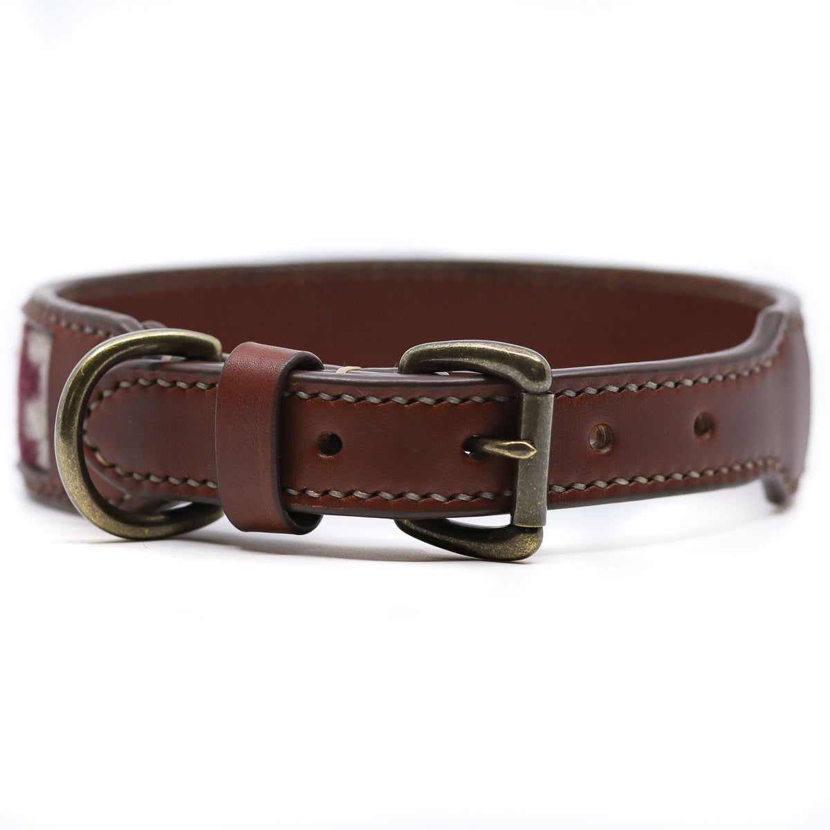 Leather Inlay Buckle Collar