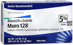 Muro 128 Sterile Ophthalmic 5 Percent Ointment,Twin Pack .25 oz (7 g)
