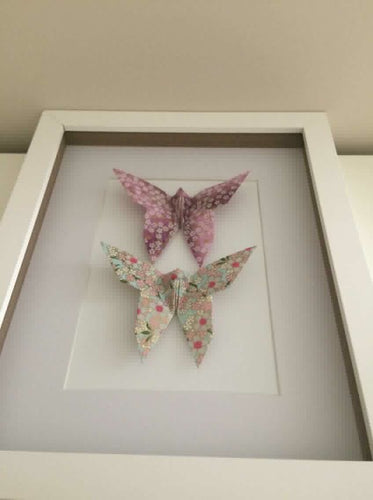 Framed Butterfly Duo - Lilac/Pink blossoms