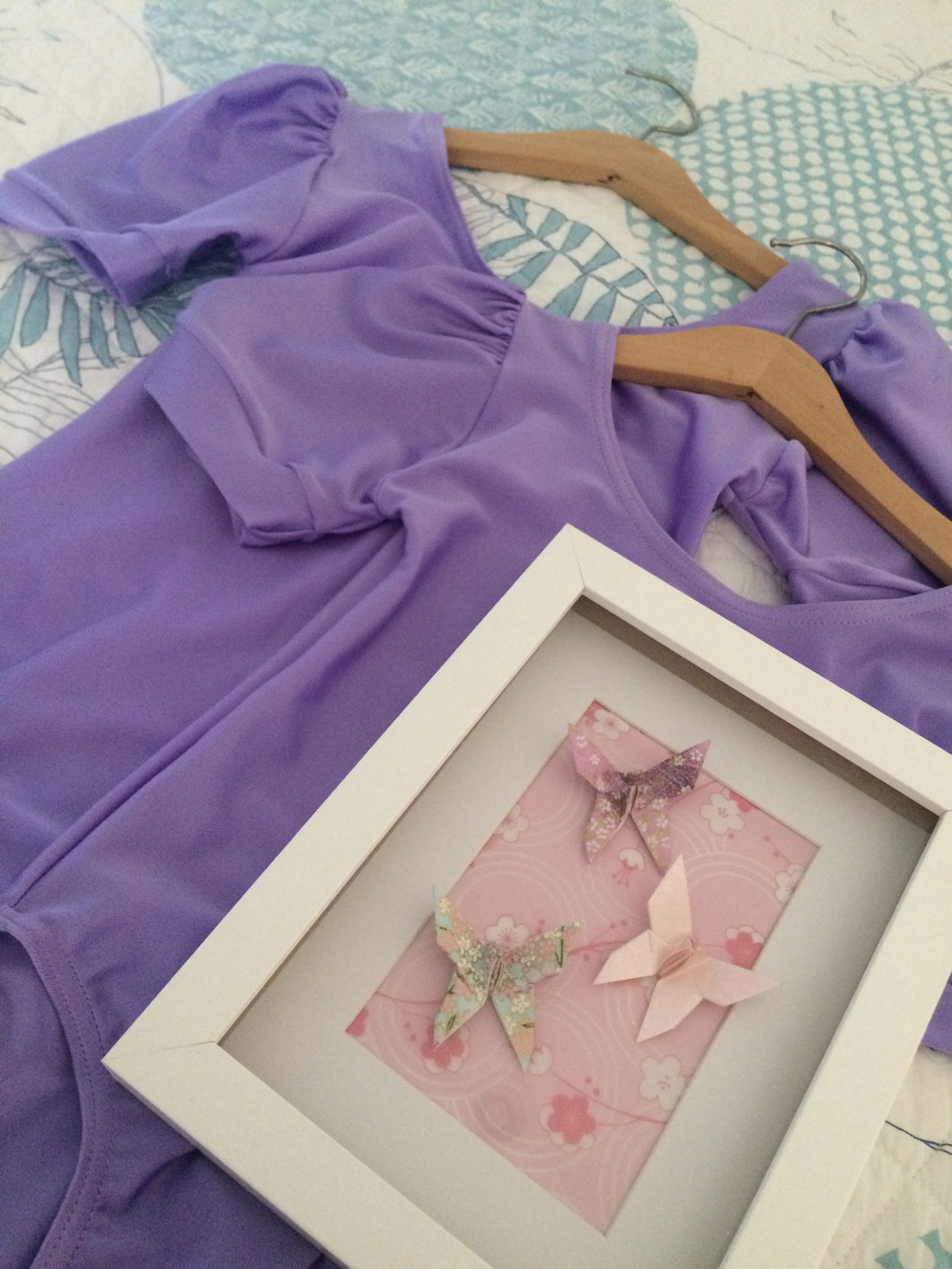 Short 'puff' sleeved lavender Lycra leotard