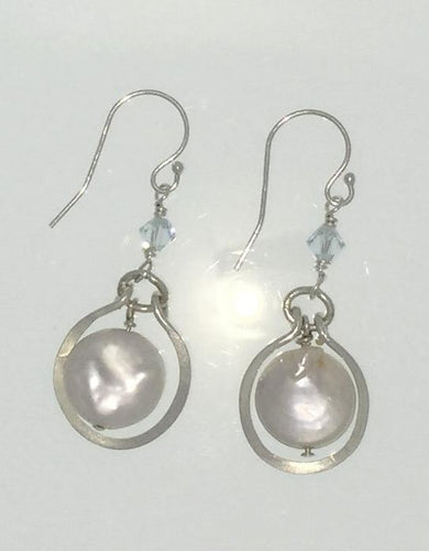 Framed Coin Pearl Earrings
