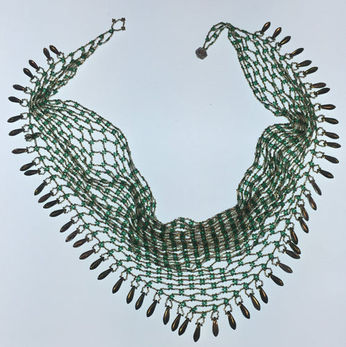 Beaded Scarf, Green & Silver