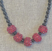 Swarovski Crystal beaded bead & Onyx necklace