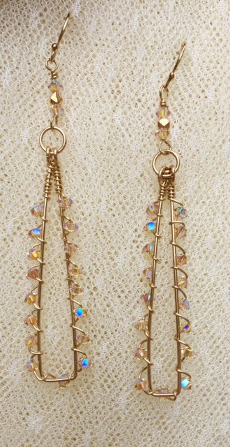 Wire wrapped Earrings with Swarovski Crystals